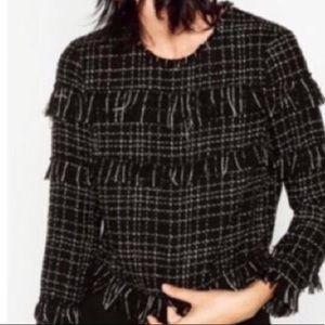 Zara Fringe Long Sleeve Blouse S Black & White